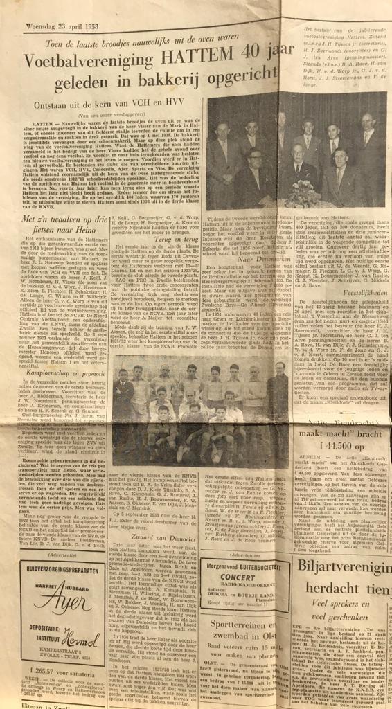 v.v.Hattem werd 102 jaar geleden opgericht