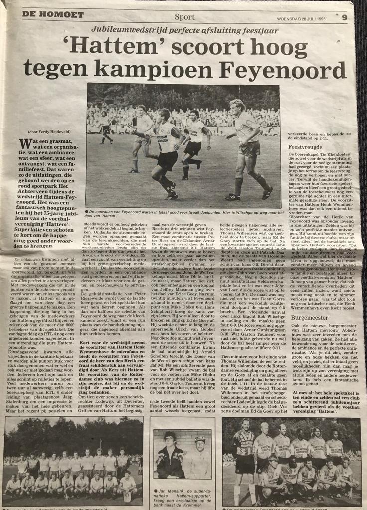 Hattem scoort 2 maal in jubileumwedstrijd tegen Kampioen Feyenoord