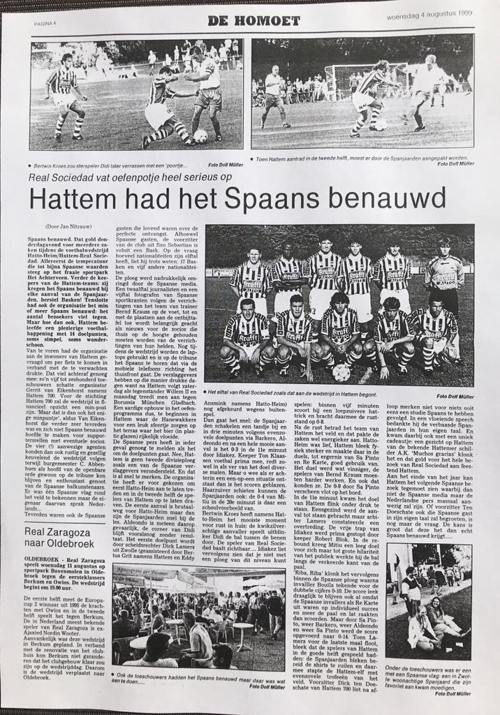 Real Sociedad speelt tegen Hattem / Hatto Heim in kader 700 jaar Hattem